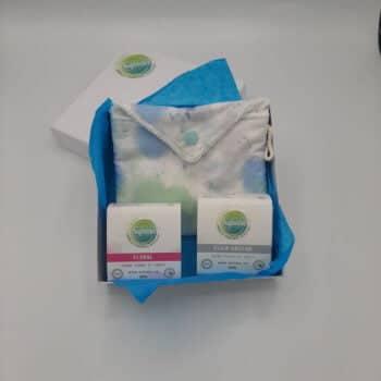 Coffret 2 savons et une grande pochette tissus respirant doublée coton